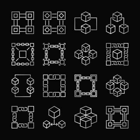 Block chain silver icons. Vector set of block chain linear signs.