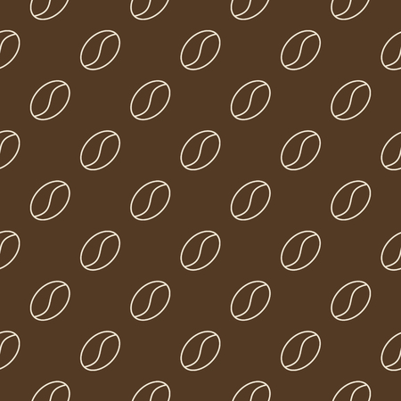 Outline coffee beans vector brown seamless pattern illustration. Vectores