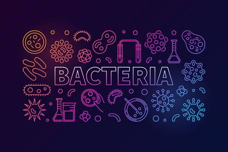Bacteria horizontal colored illustration. Vector concept banner made with viruses and bacterias linear icons on dark background Illustration