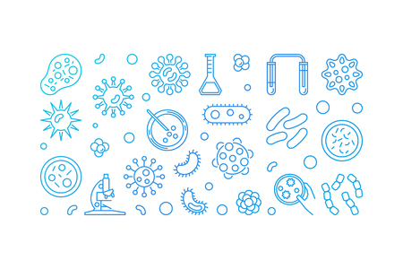 Microbe blue illustration or horizontal banner made with bacterias and microbes concept icons on white background