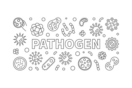 Pathogen horizontal illustration. Vector banner made with bacter