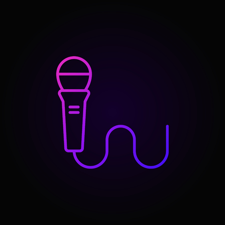 Wired microphone colorful linear vector icon