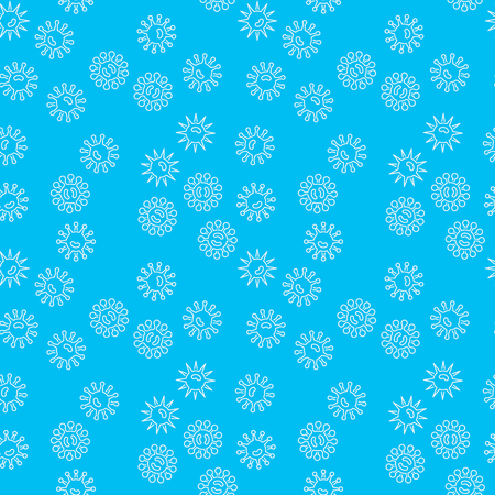Vector blue seamless pattern with white bacteria icons