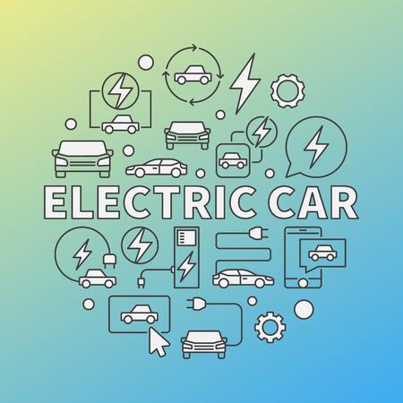 Electric Car modern vector round illustration