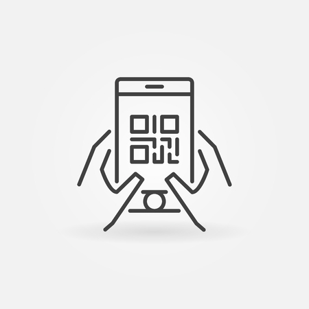 QR code in smartphone vector icon or symbol in thin line style Illustration