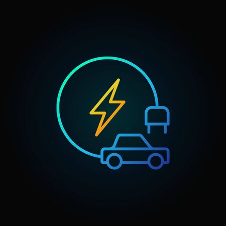 Electric vehicle colorful line icon or symbol on dark background