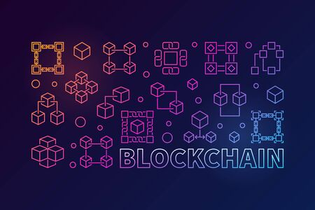 Block chain colorful horizontal illustration. Vector banner.