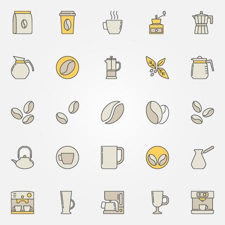 Geplaatste koffie kleurrijke pictogrammen - vector creatieve symbolenillustratie.