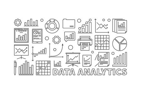 Data analytics vector linear concept illustration.