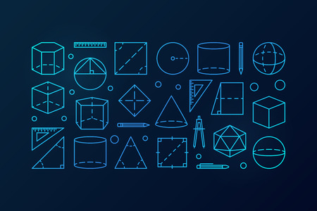 Geometry vector blue background illustration.