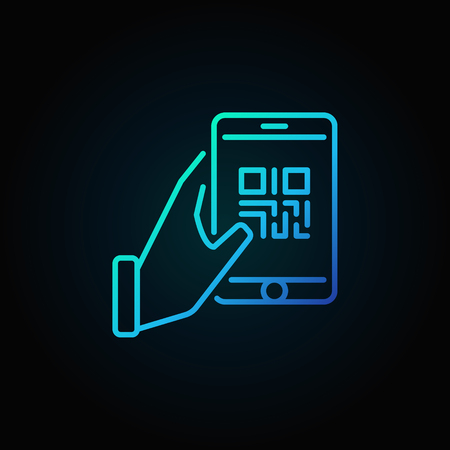 Hand holding smartphone with QR code vector blue line icon on dark background