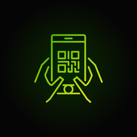 QR code in smartphone green vector icon or symbol in thin line style on dark background