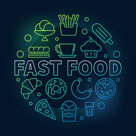 Fast food round colorful symbol. Vector illustration made with linear junk food icons on dark background