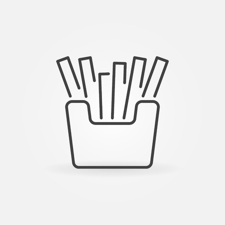French fries minimal icon. Vector fast food concept symbol in thin line style Çizim