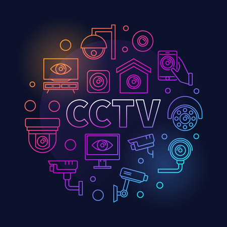 Colored CCTV round illustration. Vector modern symbol