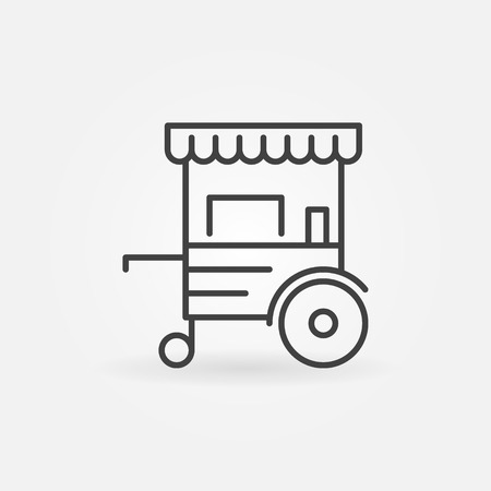 Mobile cart linear icon - vector wheel market stall line sign  イラスト・ベクター素材