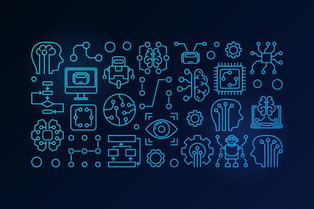 Machine learning en kunstmatige intelligentie vector blauwe schets illustratie op donkere achtergrond