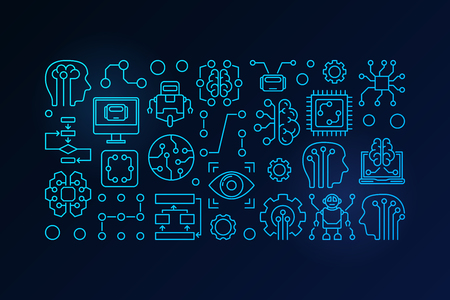 Machine learning and artificial intelligence vector blue outline illustration on dark background