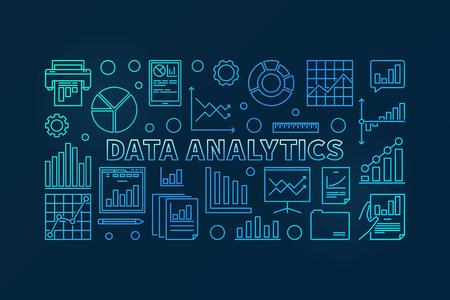 Data analytics concept vector blue horizontal banner or illustration in thin line style on dark background 向量圖像