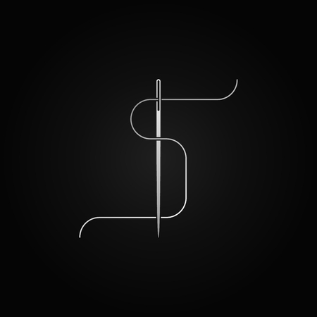 Silver sewing needle vector concept icon or design element on dark background.