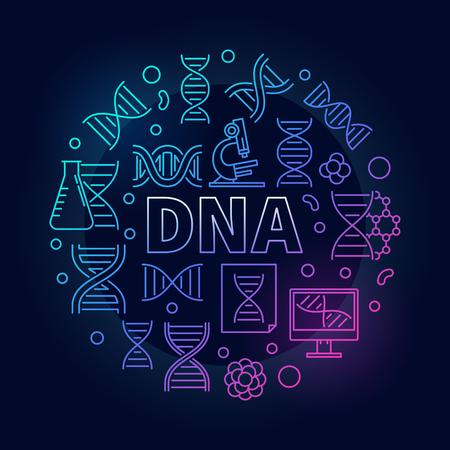 Vector ADN redondo colorido ilustración o símbolo