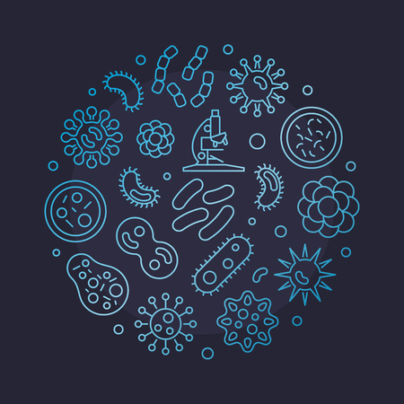 Microbes round outline blue illustration. Vector circular symbol