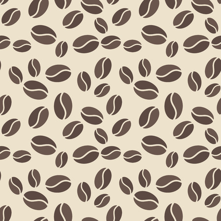 Seamless pattern with brown coffee beans