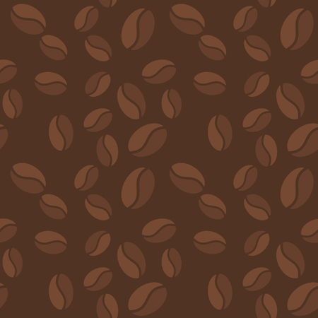 Vector brown seamless pattern with coffee beans icons Vectores