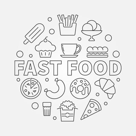 Fast food round symbol. Vector outline illustration Illustration