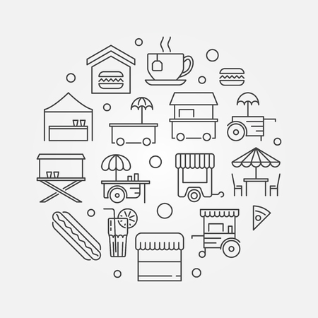 Street food festival vector concept round symbol or illustration in thin line style  Illustration