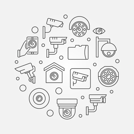 CCTV video security cameras round vector illustration.