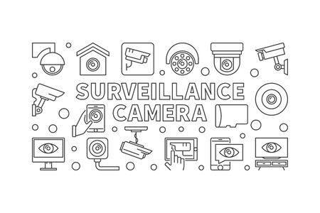 Surveillance camera illustration - vector line banner