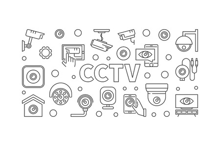 CCTV horizontal illustration. Vector concept line banner