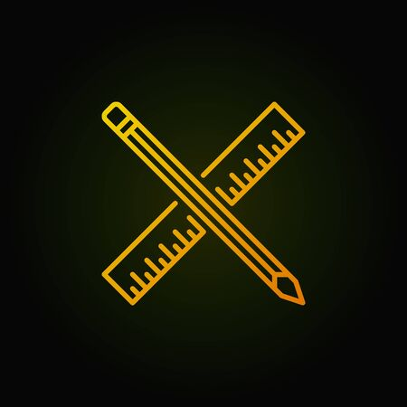 Pencil with ruler yellow outline vector concept icon