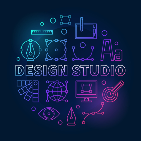 Design studio bright and colorful round vector illustration in thin line style on dark background Illustration