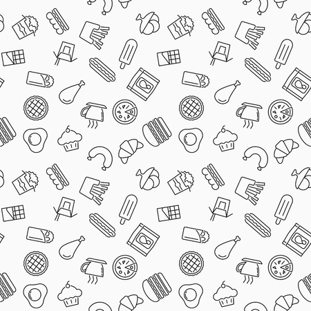 Simple fast food vector seamless pattern or texture made with thin line fast food icons