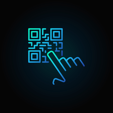 Hand pointing QR code vector blue concept icon or symbol Illustration