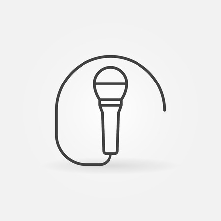 Wired microphone icon or symbol in thin line style Ilustração