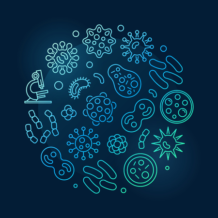 Bacterias round blue symbol made with linear viruses icons