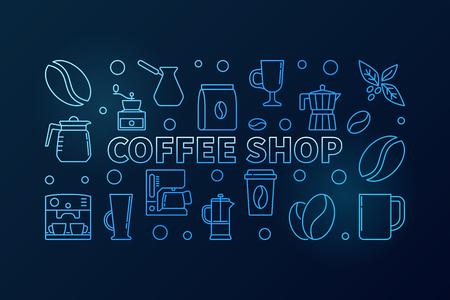 Coffee shop vector blue horizontal concept illustration