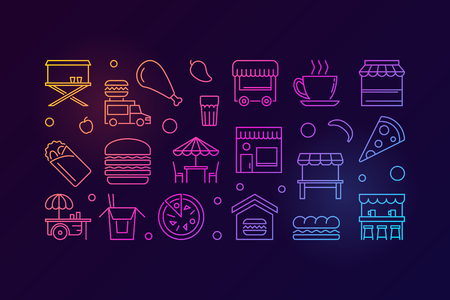 Street food festival colored horizontal vector linear illustration or banner on dark background
