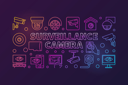 Surveillance camera vector colorful horizontal illustration