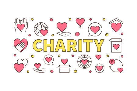 Colored charity horizontal illustration - vector creative banner on white background