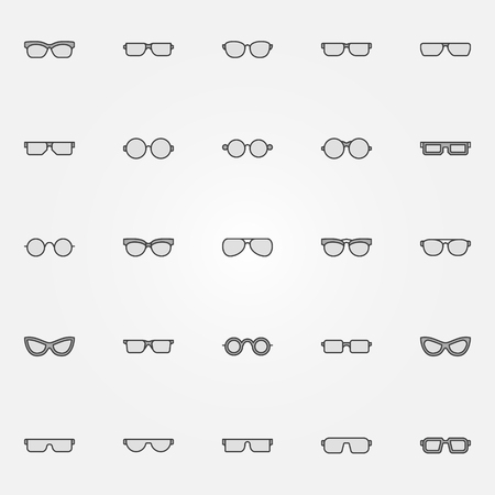Gray glasses icons set - vector sunglasses and spectacles creative symbols or design elements Illustration