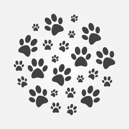 Dark paw Prints round illustration. Vector dog or cat footprints circular symbol