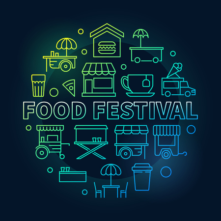 Colored food festival vector linear illustration or sign
