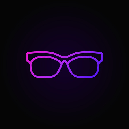 Glasses colored outline icon. Vector sunglasses linear symbol or logo element on dark background