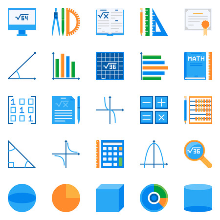 Math flat icons set 向量圖像