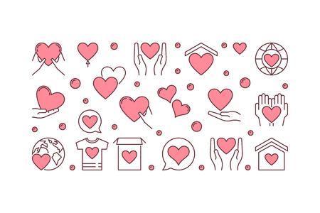 Bannière horizontale créative de vecteur de bienfaisance ou illustration