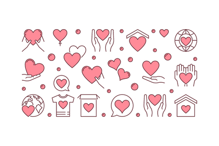 Insegna o illustrazione orizzontale creativa di vettore di carità